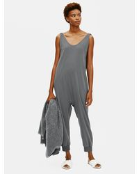 Eileen Fisher Cozy Organic Cotton Interlock Jumpsuit - Multicolor