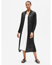Eileen Fisher Organic Linen Crepe Duster Cardigan - Black