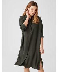 Eileen Fisher Washed Silk Habutai Shirtdress - Multicolor