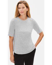 Eileen Fisher System Organic Cotton Jersey Melange Elbow-sleeve Tee - Gray