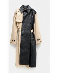 ROKH Bicolor Trench Coat - Natural