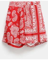 Aries Bandana Print Board Unisex Shorts - Red