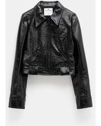 Courreges Vinyl Biker Jacket - Black