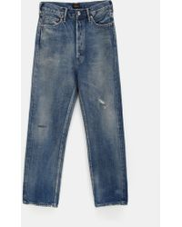 Chimala Selvedge Wide Tapered Cut Distressed Jeans - Blue