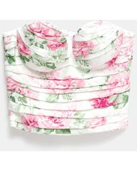 Magda Butrym Sweetheart Bustier Top In Pink Peonias Floral Print