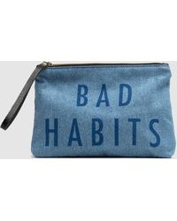 Mercules Blue Denim Pouch With Printed Front