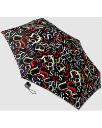 Guess - Black Mini Umbrella With Multicoloured Letters Print - Lyst