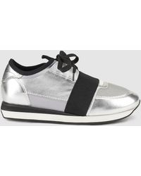 Lola Cruz - Silver Lace-up Trainers - Lyst