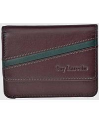 Guy Laroche Burgundy And Green Leather Purse With Flap - Purple