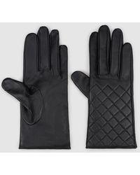 El Corte Inglés Quilted Black Leather Gloves