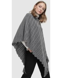 El Corte Inglés Grey Knitted Poncho With Fringe - Gray
