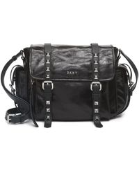 DKNY Black Leather Satchel With Silver Studs