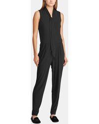 2b8cf661355 Lyst - Lauren by Ralph Lauren Sleeveless Crepe Wide Leg Jumpsuit in ...