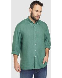 506ce11aaf Mirto - Big And Tall Classic-fit Plain Green Linen Shirt - Lyst