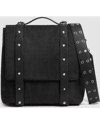 AllSaints Black Nylon Backpack With Metallic Studs