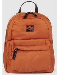 Caminatta Orange Nylon Backpack With Zip