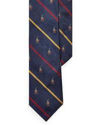Polo Ralph Lauren Blue Striped Silk Tie With Bear