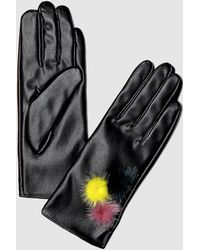 Guess Black Gloves With Two-tone Pompoms