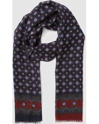 Mirto - Blue Wool Foulard With A Multicoloured Print - Lyst
