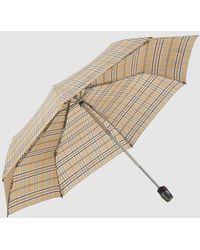 Knirps Paraguas Plegable En Beige De Cuadros - Neutro