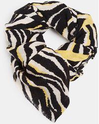 Esprit Animal-print Scarf With Contrasting Details - Black