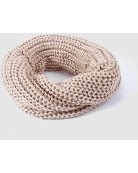 El Corte Inglés - Tan Knitted Cowl With Metallic Detail - Lyst