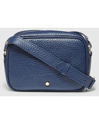 Gloria Ortiz Gianni Navy Blue Granulated Leather Small Crossbody Bag