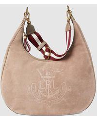 Lauren by Ralph Lauren - Medium Taupe Suede Hobo Bag With Brand Embossing -  Lyst cbd9e110458