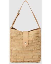 Gloria Ortiz Sandy Camel-coloured Leather Hobo Bag With Fringe - Natural