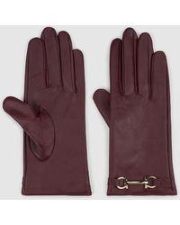 El Corte Inglés Burgundy Leather Gloves With Chain - Purple