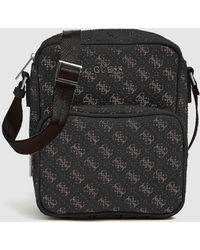 09170014a6 Black Crossbody Bag With Logo Print And Zip