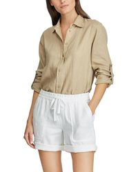 Lauren by Ralph Lauren Wo Plain-coloured Shorts With Pockets - White