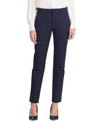 Lauren by Ralph Lauren Wo Polka Dot Print Straight Pants - Blue