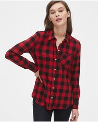 Gap Wo Checked Shirt With A Pocket - Red