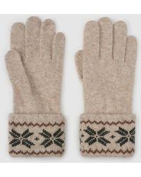 El Corte Inglés Beige Knitted Gloves With Print - Natural