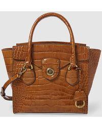 Lauren by Ralph Lauren - Brown Leather Handbag With Mock-croc Embossing - Lyst