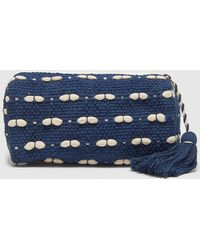 El Corte Inglés Navy Blue And White Raffia Toiletry Bag With Zip