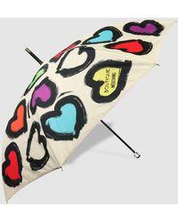 Moschino Paraguas Largo Automático Beige Con Estampado - Neutro