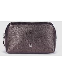 Gloria Ortiz Sofia Shimmer Small Metallic Gray Leather Toiletry Bag