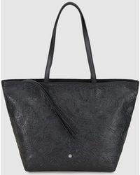 Gloria Ortiz - Maya Black Embossed Leather Shopper Bag With Inner Pockets - Lyst