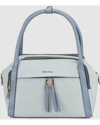Robert Pietri - Handbag In Blue Tones With Contrasting Polished Details - Lyst