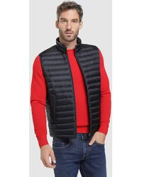 Tommy Hilfiger Mens Blue Quilted Waistcoat - Red