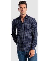 Calvin Klein Camisa Fácil Plancha De Hombre Regular De Cuadros Azul