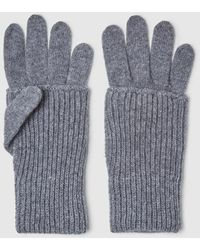 El Corte Inglés - Grey Knitted Gloves - Lyst