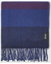 BOSS Purple Knitted Foulard With Multicoloured Stripes - Blue