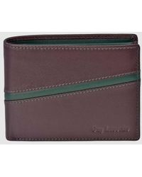 Guy Laroche Burgundy And Green Leather Wallet With Coin Pocket - Multicolor