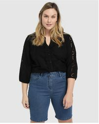Couchel Wo Plus Size Bermuda Shorts With Five Pockets - Blue