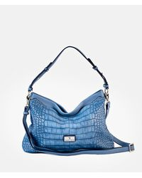 Robert Pietri Blue Hobo Bag With Mock-croc Embossing And Long Detachable Strap