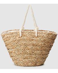 El Corte Inglés Tan Plaited Raffia Basket Bag - Natural