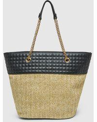 El Corte Inglés Two-tone Black And Tan Synthetic Raffia Shopper Bag